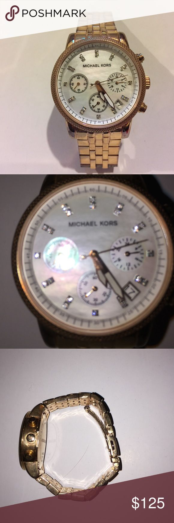 Michael Kors Watch Rose gold Michael Kors watch with white pearl face. Normal wear on bracelet part of watch. The battery is dead which is why the price is so low. I have an Apple Watch and never wear my nice watches anymore. I have the original box, price tag, booklet and additional link. Michael Kors Accessories Watches