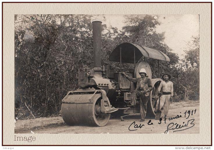 CARTE-PHOTO: CAP SAINT-JACQUES - ROULEAU COMPRESSEUR 1911