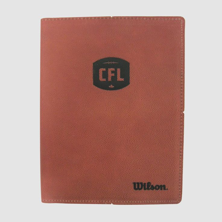 """CFL Wilson Football Leather Portfolio / Porte-documents de la LCF en cuir de Wilson. The CFL Wilson portfolio is a great way to share your love of sports at work.  Perfect gift for any sports fan that spends time in the office.  Made with authentic Wilson Football Leather. Branded with the NEW Canadian Football League logo.  Size: 12"""" x 9.5"""""""