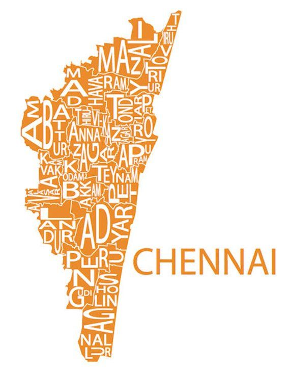 Typographic Map Of Chennai District Tamil Nadu India Etsy Personalized Map Art Map Art Incredible India Posters