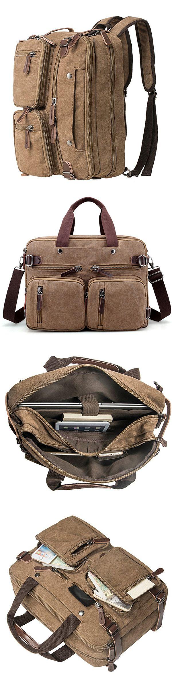 US$32.93 Ekphero Multi Use Canvas Crossbody Bag Multi Pocket Solid Backpack Handbag For Men