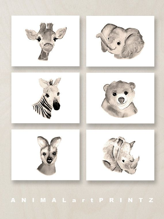A print set of six sweet safari jungle animals in a neutral palette ... great gender neutral wall decor for a kid's room or a nursery.
