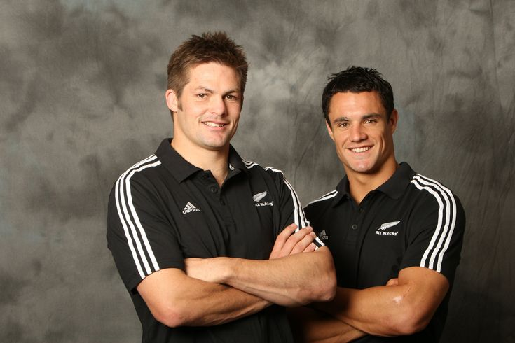Ritchie McCaw All Black Captain with Daniel Carter.