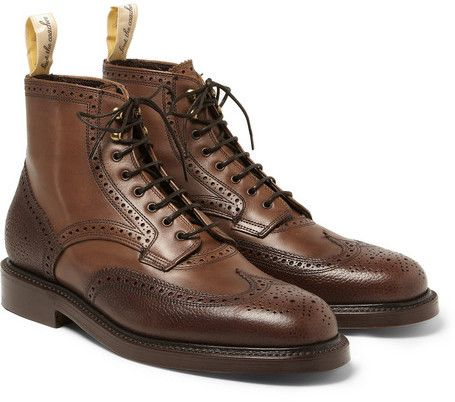$945, Grenson Foot The Coacher Pebble Grain Leather Brogue Boots. Sold by MR PORTER. Click for more info: https://lookastic.com/men/shop_items/84967/redirect
