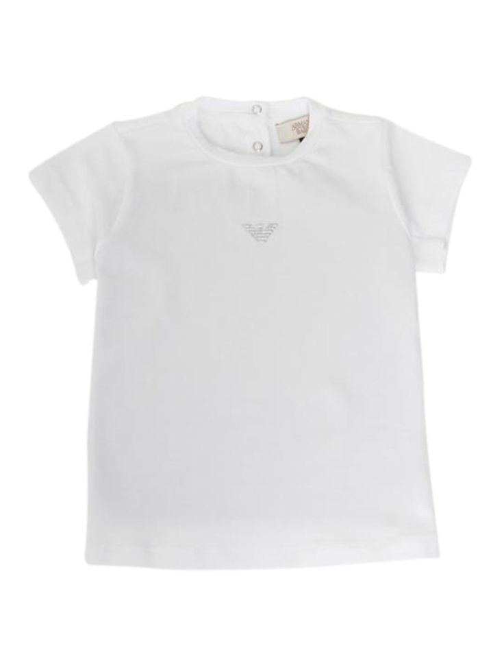 Armani Junior White Sparkle Logo T-shirt | Accent Clothing