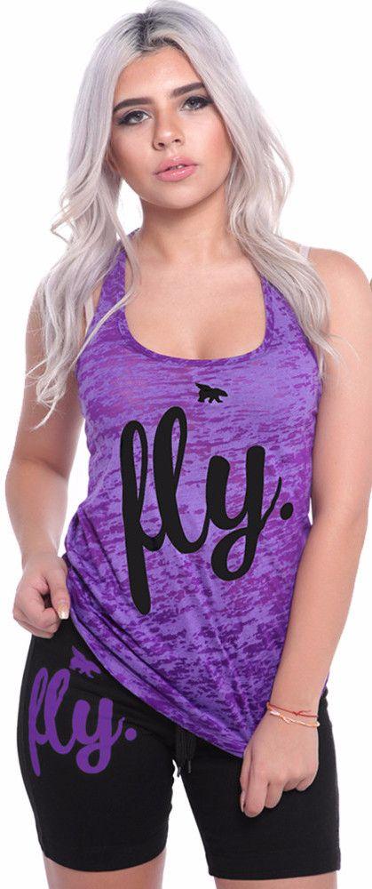 FLY. Burnout Tank & Boyfriend Shorts Outfit - Purple/Black