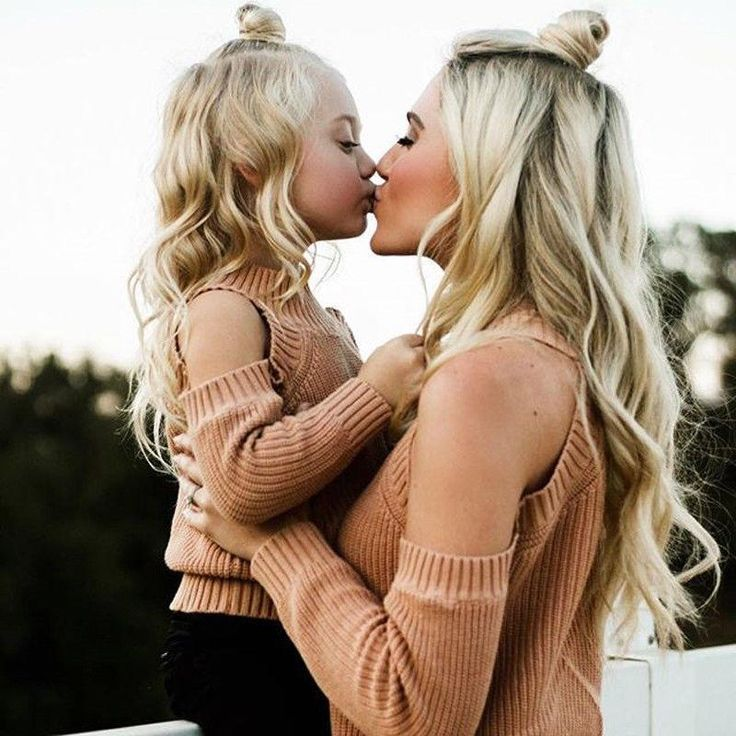 Mother Daughter Matching Sweater Set - Long Sleeve Off Shoulder Knitted Sweater