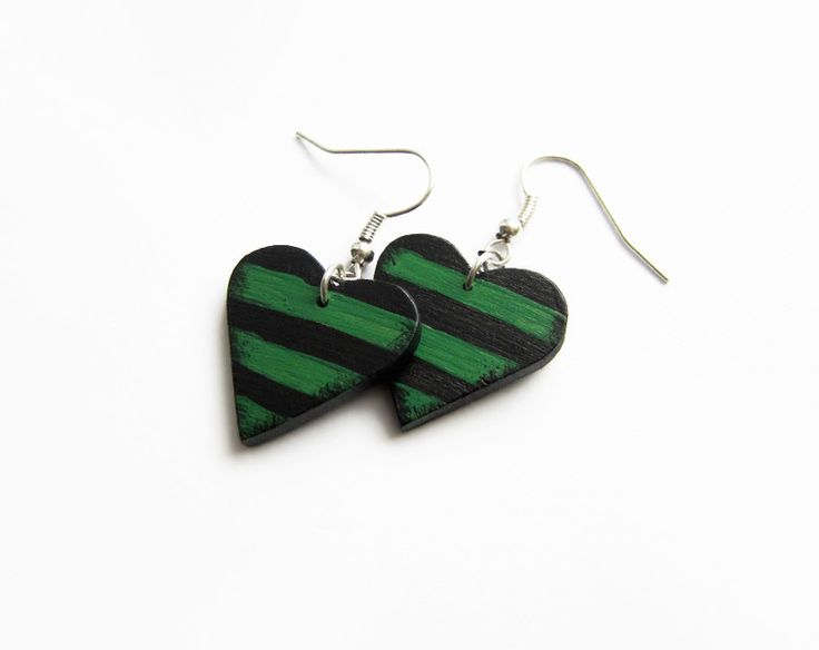 Other – Retro earrings, earrings wood, wooden hearts – a unique product by forevahairforks on DaWanda