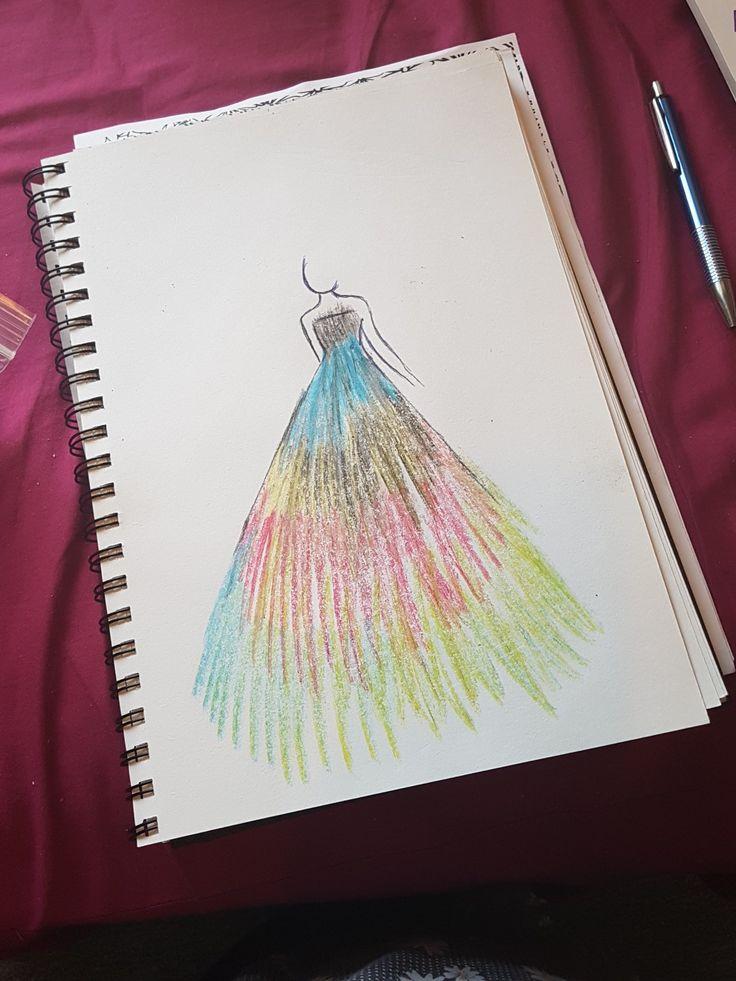 Crayon fashion illustration.  Multicoloured crayons. Wax crayon art.