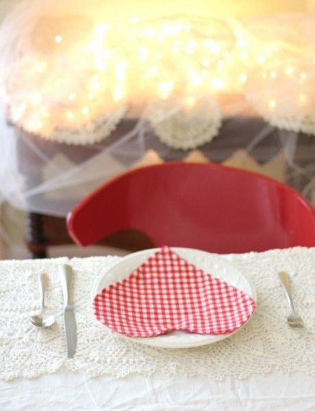 Heart-Shaped Napkins for a Romantic Dinner Setting