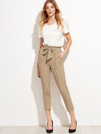 f866989f7b Tie Waist Shirred Peg Pants -SheIn(Sheinside) | Europe '18 | Pants ...
