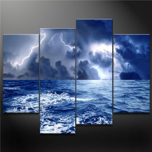 4 Panel Blue Wall Art Painting Dark Clouds Gather Together
