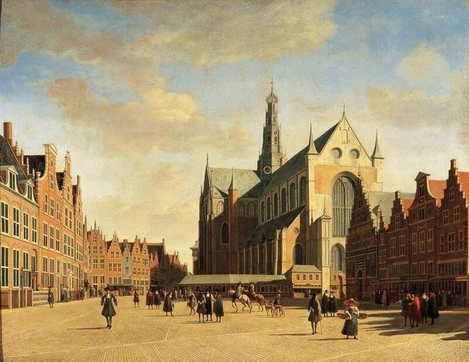 De Grote Markt te Haarlem met de Grote of St. Bavokerk, Gerrit Adriaensz Berkheyde, 1696. Frans Hals Museum.