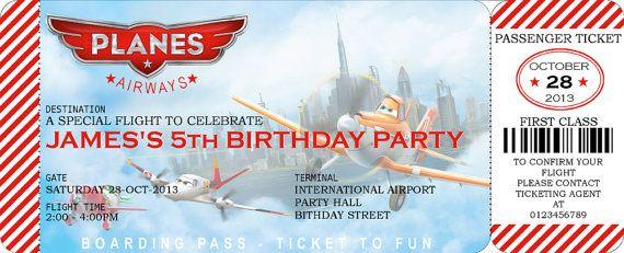 Disney Planes Boarding Pass Invitation - Digital File (PDF JPG - airplane ticket invitations