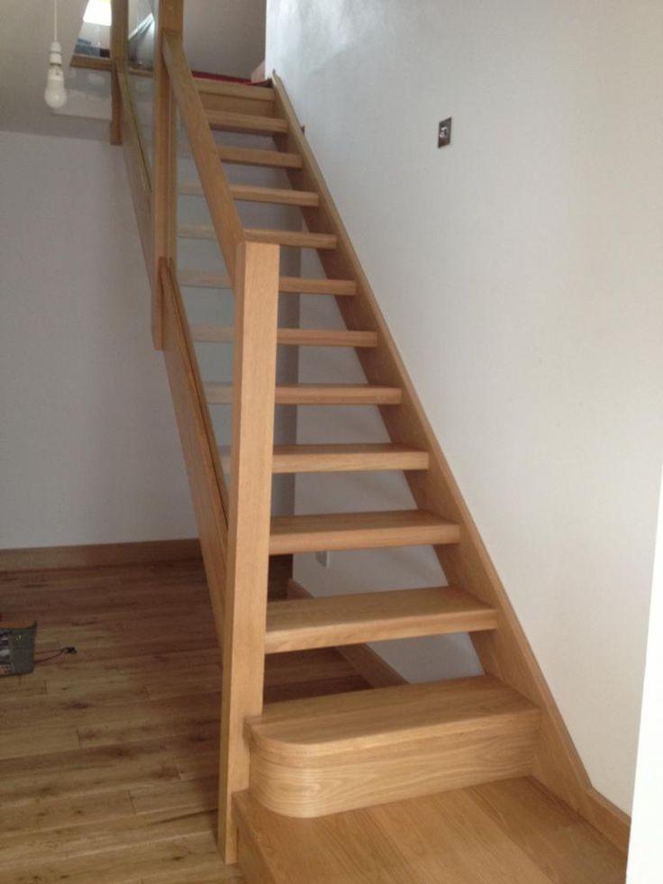Glass Balustrade on Oak Open Plan Stairs Oak Stairs with Glass Balustrades Oak Handrails Oak Newels Open Treads Staircases - - It's Free! : Shaw Stairs Ltd