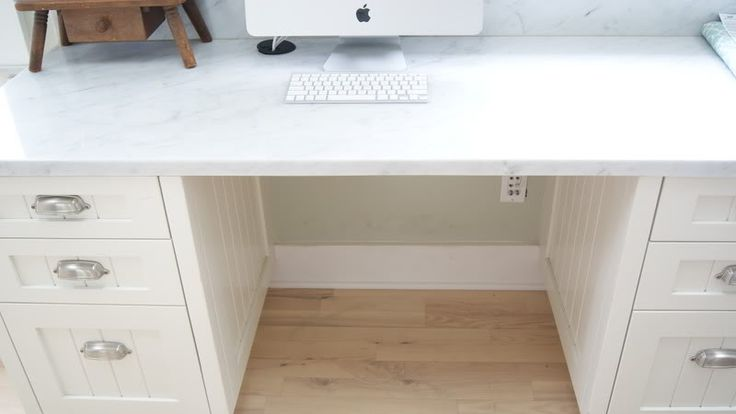How To Hide Desk Cords:  BRILLIANT!  (A basket works, too, but isn't as polished.)