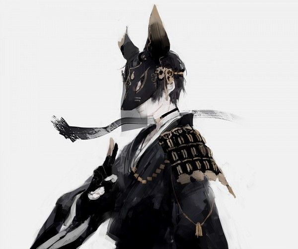 Tags: Anime, Pixiv Id 3824219, Japanese Armor, Noh Mask, Fox Mask, Black Handwear, Covered Face