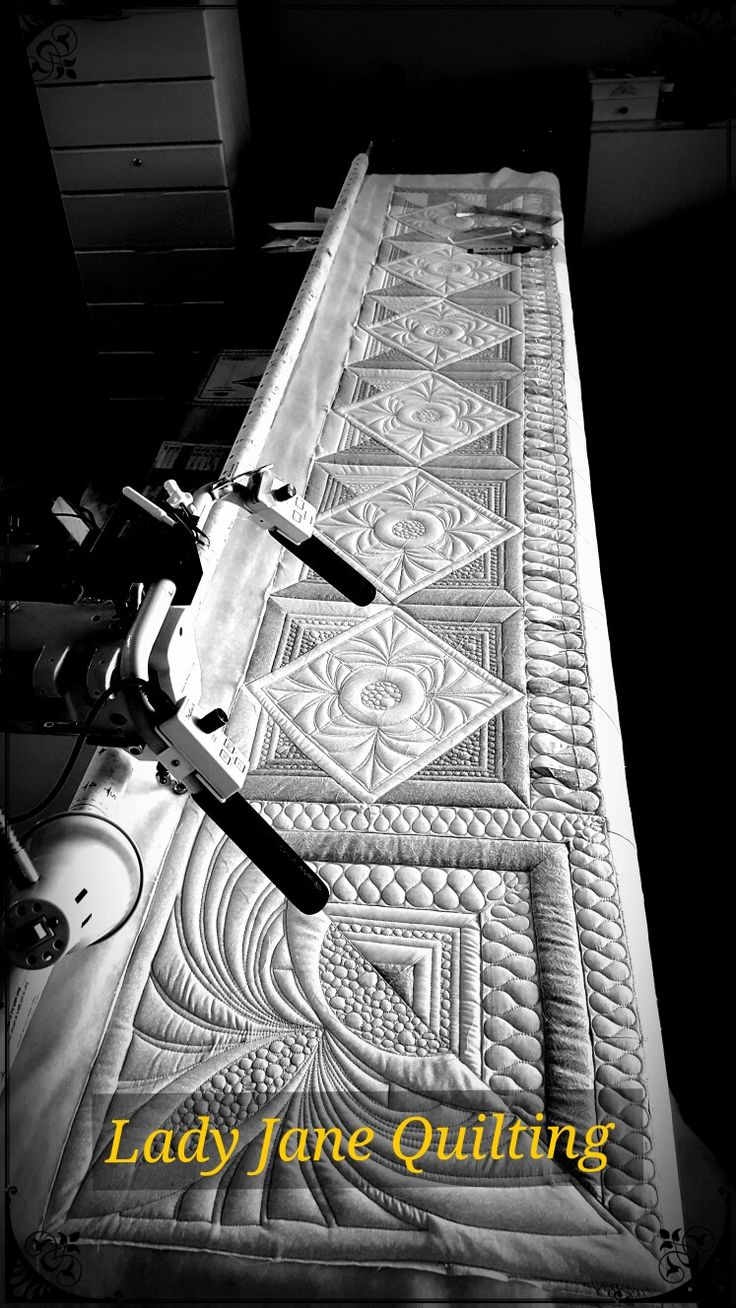 Free motion quilting with ruler work on long arm machine for client by Telene Jeffrey-LJQ