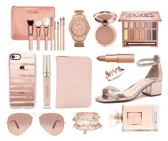 """""""Rosegold Addict"""" by hijab-daily on Polyvore featuring Mollini, Ray-Ban, FOSSIL, Chanel, Charlotte Tilbury, Accessorize, Casetify, Latelita, Urban Decay and Stila"""