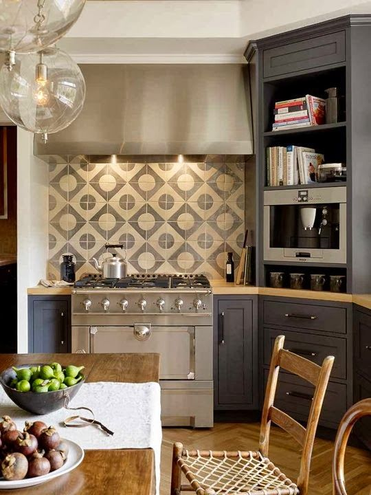 DIAGONAL USE, STOVE BACKSPLASH IDEA, AND KITCHEN TABLE CONCEPT (ALL IN ONE PHOTO)