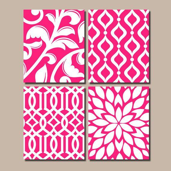 HOT PINK Bedroom Wall Art, Trellis Pattern Swirl Design, Canvas or Prints…