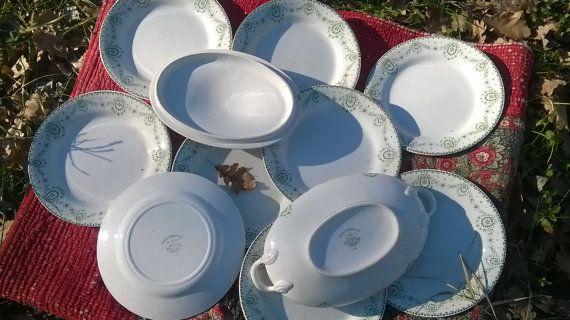 www.sophieladydeparis.etsy.com Set of 10 pieces Verbena Green Ironstone #Plates and one Tureen- Lovely vintage 1890's Art Nouveau Monochrome decor - Signed on the reverse : ... #antiquedecor #victorian #sophieladydeparis #homedecor #porcelain
