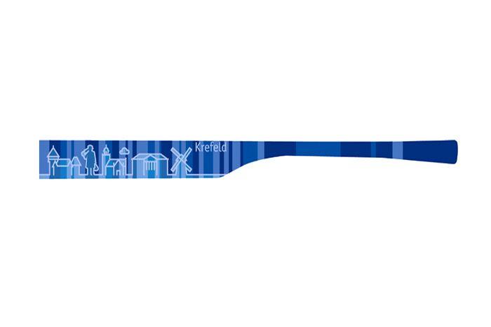 """Brillenbügel Modell: eye:max Wechselbügel 5821 02 Motiv Krefeld blau   Meine Stadt, für das Wechselsystem eye:max von Koberg und Tente. Brillenbügel Paar in der Farbe """"Blau"""", für das clevere Bügeltauschsysteme von eye:max. Bügellänge..."""