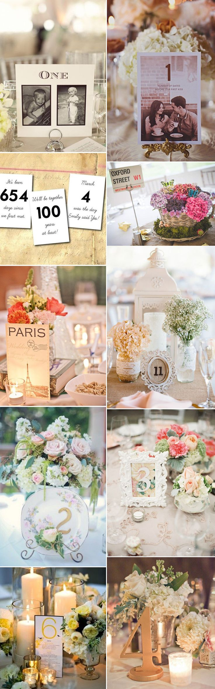 Get your guests talking with these inspirational ideas for wedding table numbers from scrabble words, the natural outdoors and vintage frames