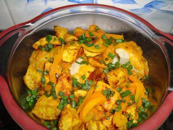 Bloemkool met paprika en kipfilet met currysaus in de thermomix 8
