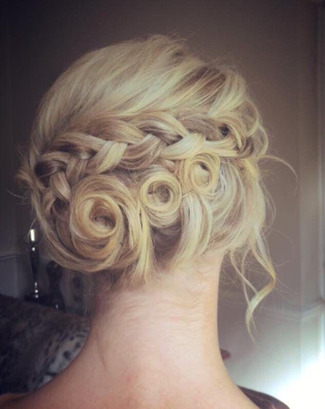 Blonde braided hairup