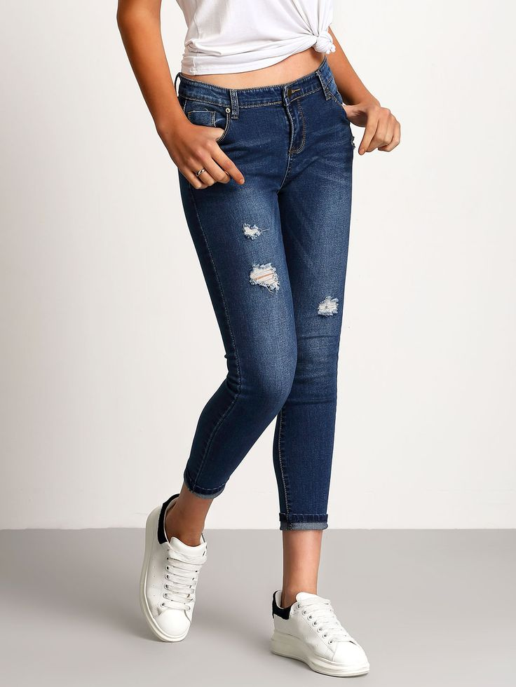 Shop Blue Slim Bleached Ripped Denim Pant online. SheIn offers Blue Slim Bleached Ripped Denim Pant & more to fit your fashionable needs.