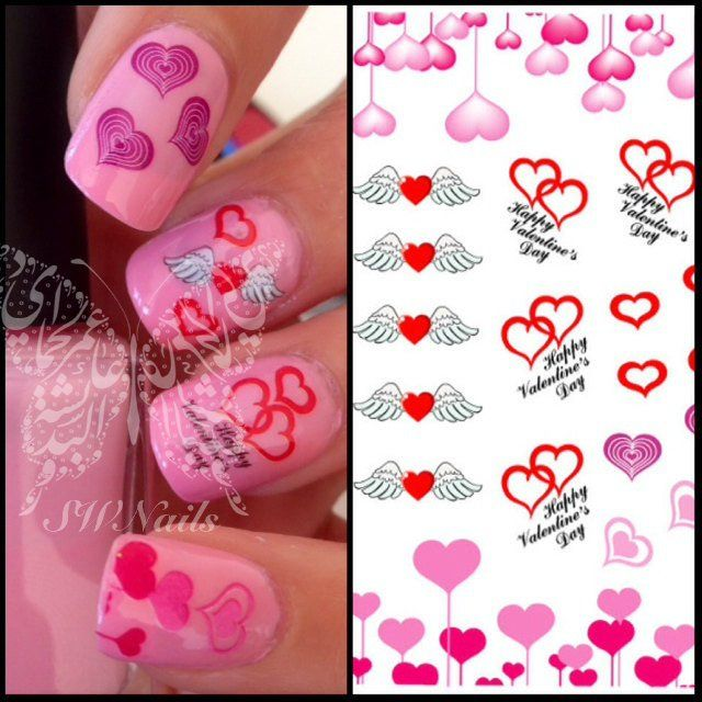 334 best nails images on pinterest nail scissors nails design nail art pink red hearts wings valentines days nail water decals transfers wraps prinsesfo Choice Image