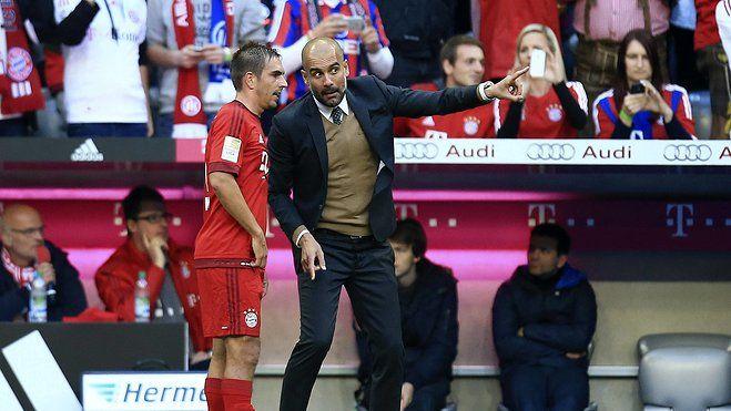 Philipp Lahm und Pep Guardiola