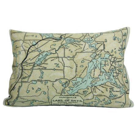 Home :: Home Décor :: Lake of Bays vintage map pillow by County Cupboard $69