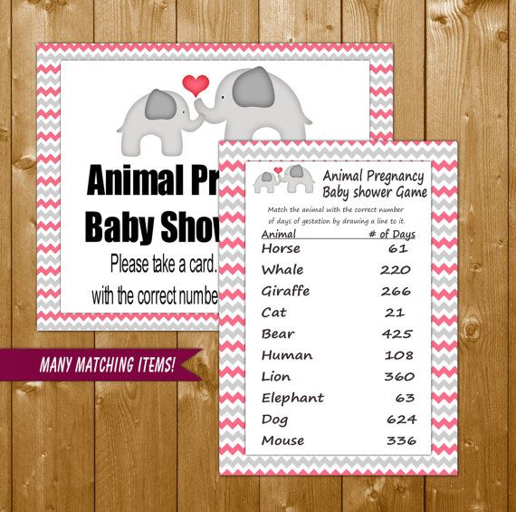 Baby Shower Games Elephant Pink Animal Gestation Days Game with Sign, Elephant Shower Games in Pink, Printable Instant Download