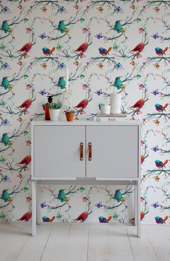 Removable Wallpaper Peel And Stick Wallpaper Wall Paper Wall Etsy Vintage Bird Wallpaper Bird Wallpaper Vintage Birds