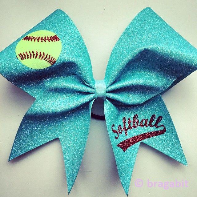 Softball bow. Light turquoise glitter softball bow with glitter designs