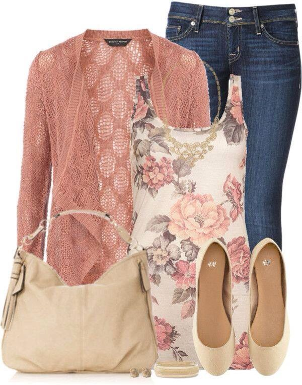 Such a great color of jeans and the detailed cardigan is really nice. I love the pattern of the tank, too. My perfect colors