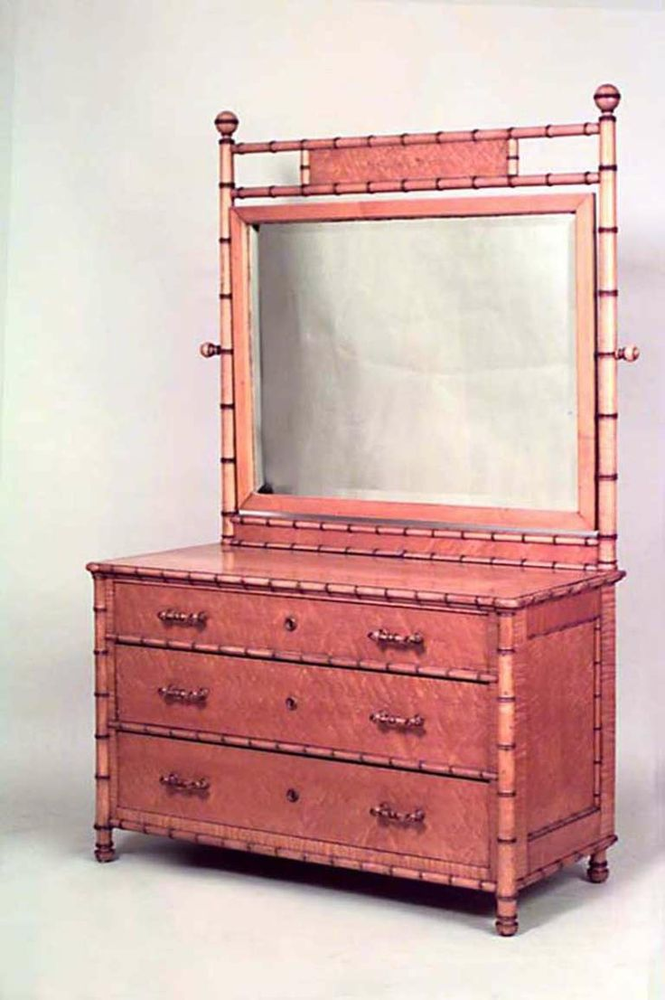 American Mirrored Faux Bamboo Dresser Attributed To R. J. Horner