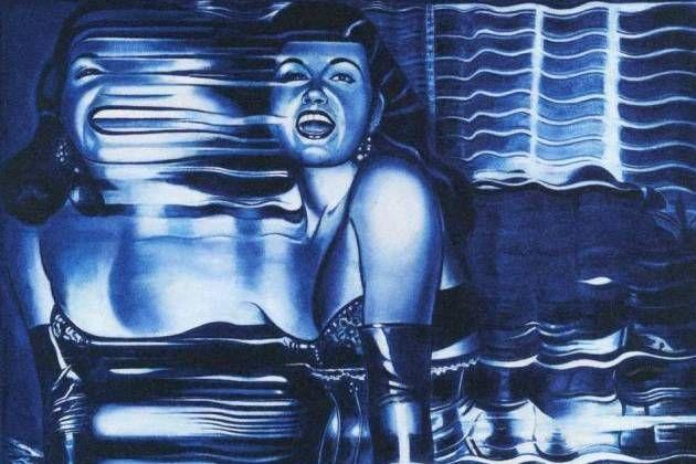 Blå verden. Serien 'Blue World' er Hans Henrik Lerfeldt fra hans mest personlige side. Som forlæg for dette usædvanlige maleri, 'Disorder and Distortion', har han formentlig benyttet et foto, som i en fotokopimaskine er blevet trukket hen over pladen i takt med eksponeringen. Dermed flyder figuren ud af sin form, og det er den opløsning, der har fascineret ham. - Foto: Brøndum & Co (beskåret) Gl. Holtegaard, Attemosevej 120. Holte. Til 12. april.