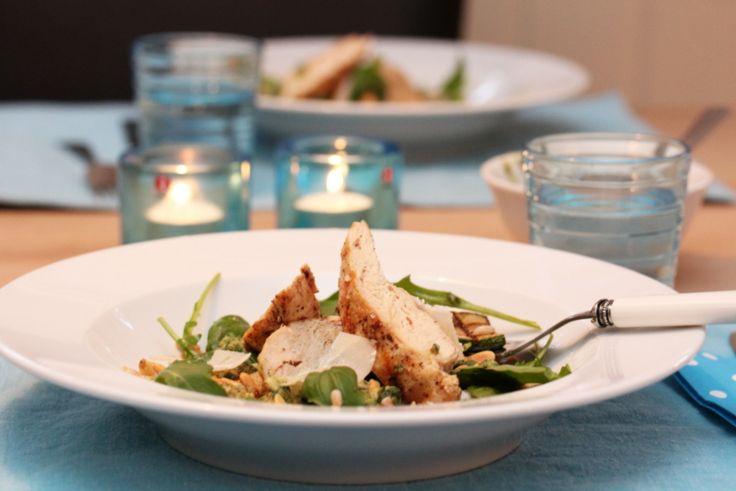 Squashsalat med kylling, perlespelt og pesto 2
