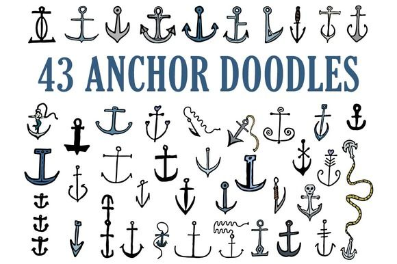 43 Hand Drawn Anchor Doodles by Wesley Miller on Creative Market