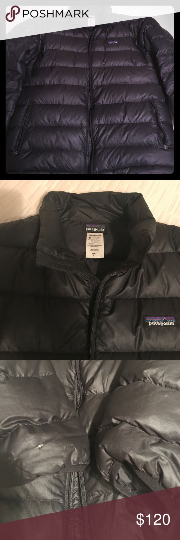 Patagonia down sweater men's coat Patagonia down sweater jacket. Men's size large. Black, without hood.  There is a very small hole on the right sleeve as shown in the picture. Otherwise in excellent condition. Patagonia Jackets & Coats Ski & Snowboard