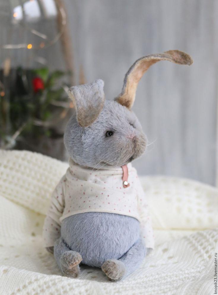 Купить Финик - комбинированный, кролик, кроль, тедди кролик, авторская игрушка, вискоза, древесные опилки
