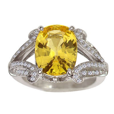 Gorgeous yellow sapphire engagement ring by Fusaro