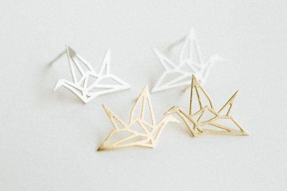 Minimalistic Paper Crane Origami Stud Earrings 18k by MinimalMeow