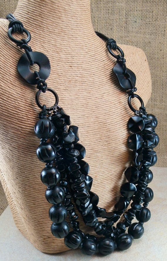 BLACK Statement Necklace  5 strands of mixed black by MMDJewellery