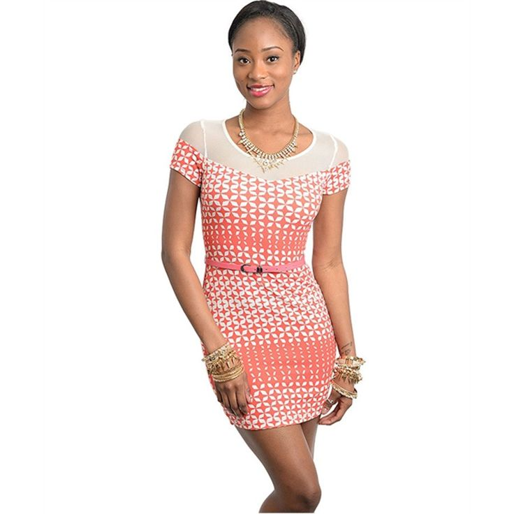 This slim mod dress features contemporary pattern print.