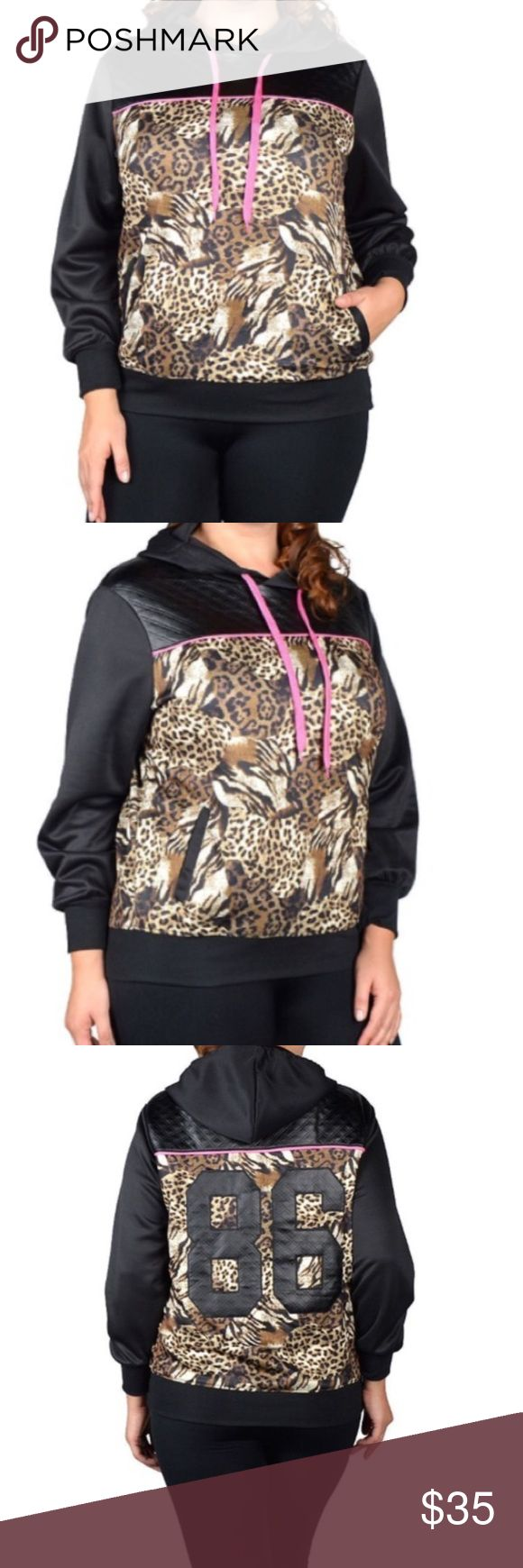Plus size Animal print Hoodie jacket Very beautiful and cozy jacket with side pockets . Material is 95% polyester 5% spandex . Jackets & Coats