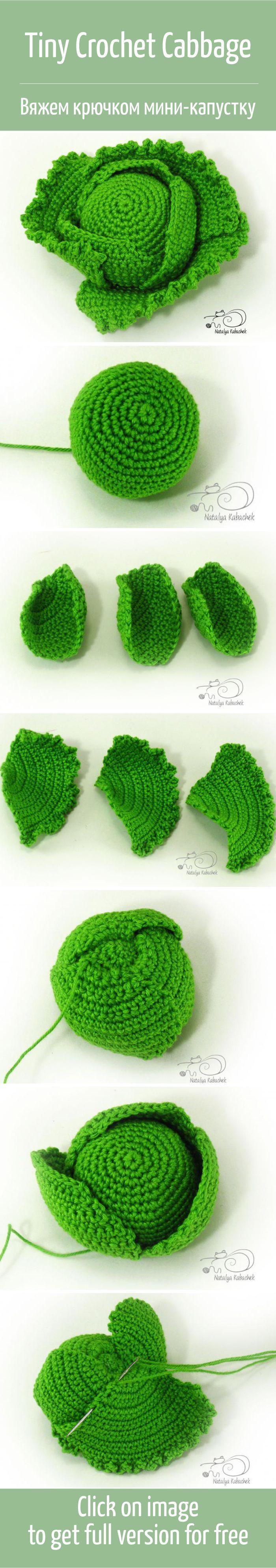 Вяжем крючком миниатюрный кочан капусты / Tiny crochet cabbage tutorial